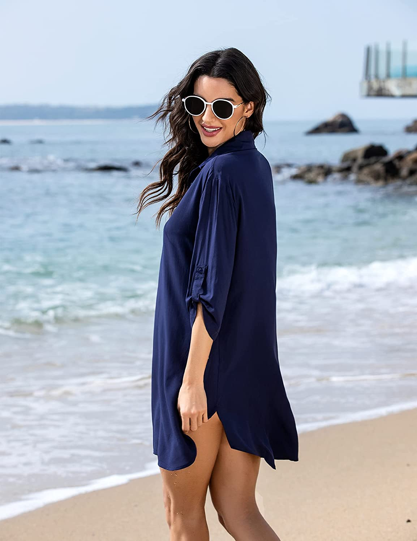 Ekouaer Women's Cover Up Shirt Swimsuit Beach Bikini Beachwear Bathing Suit S-3XL