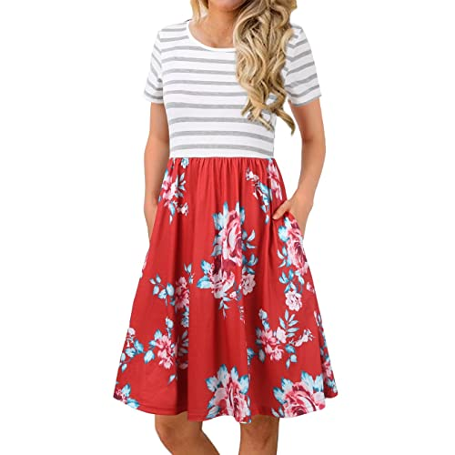 730c4b27f6 FANVOOK Women's Short Sleeve Patchwok Floral Dress Dresses with Pockets