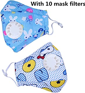 Ligart Kids Anti Pollution Mask with Activated Carbon N95 Filters Dust Mask Filtration Exhaust Gas Anti Pollen Allergy PM2.5 Air Filter Mask for Outdoor Activities