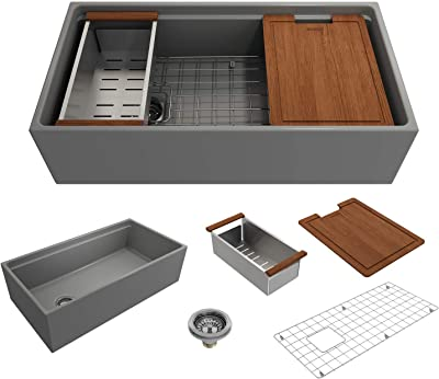 BOCCHI 1505-006-0120 Contempo Workstation Apron Front Step Rim Fireclay 36 in. Single Bowl Kitchen Sink with Accessories in Matte Gray