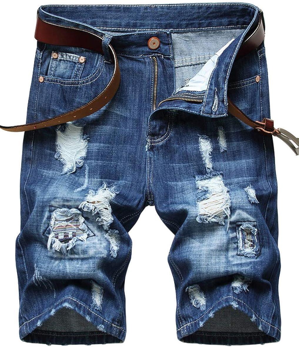 Anbreuinron Men's Casual Ripped Denim Jeans Shorts Straight Leg Slim Fit Summer Denim Shorts