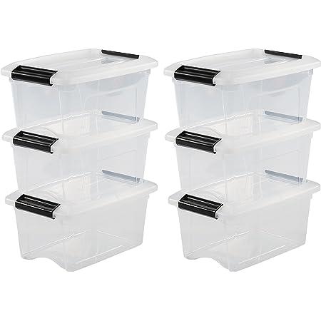 Iris Ohyama 104506 Lot de 6 boîtes de Rangement empilables-New Top Box NTB-5, Plastique, Transparent, 5 L