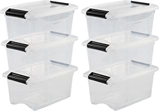 Iris Ohyama, lot de 6 boîtes de rangement empilables - New Top Box NTB-5 - Plastique, transparent, 5 L, 28,5 x 19,5 x 14 cm