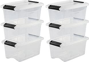 Iris Ohyama, lote de 6 cajas apilables de almacenamiento - New Top Box - NTB-5, plástico, transparentes, 5 L, 28,5 x 19,5 x 14 cm