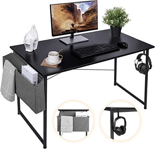 AuAg 47'' Computer Desk Home Office Desk with Storage Bag, Simple Writing Desk Work Desk, Black Modern Desk Office Ta...
