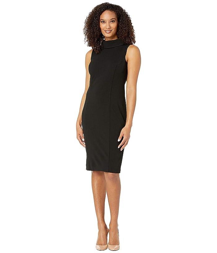 Tahari by ASL  Sleeveless Stretch Crepe Sheath Dress with Envelope Collar (Black) Womens Dress