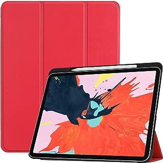 Brusmo iPad Pro 12.9 ケース ペンホルダー付き 2018モデル 薄型 PUレザー iPad Pro 12.9インチ カバー 三つ折りスタンド オートスリーブ機能 アイパッド プロ 12.9 スマートカバー (レッド)