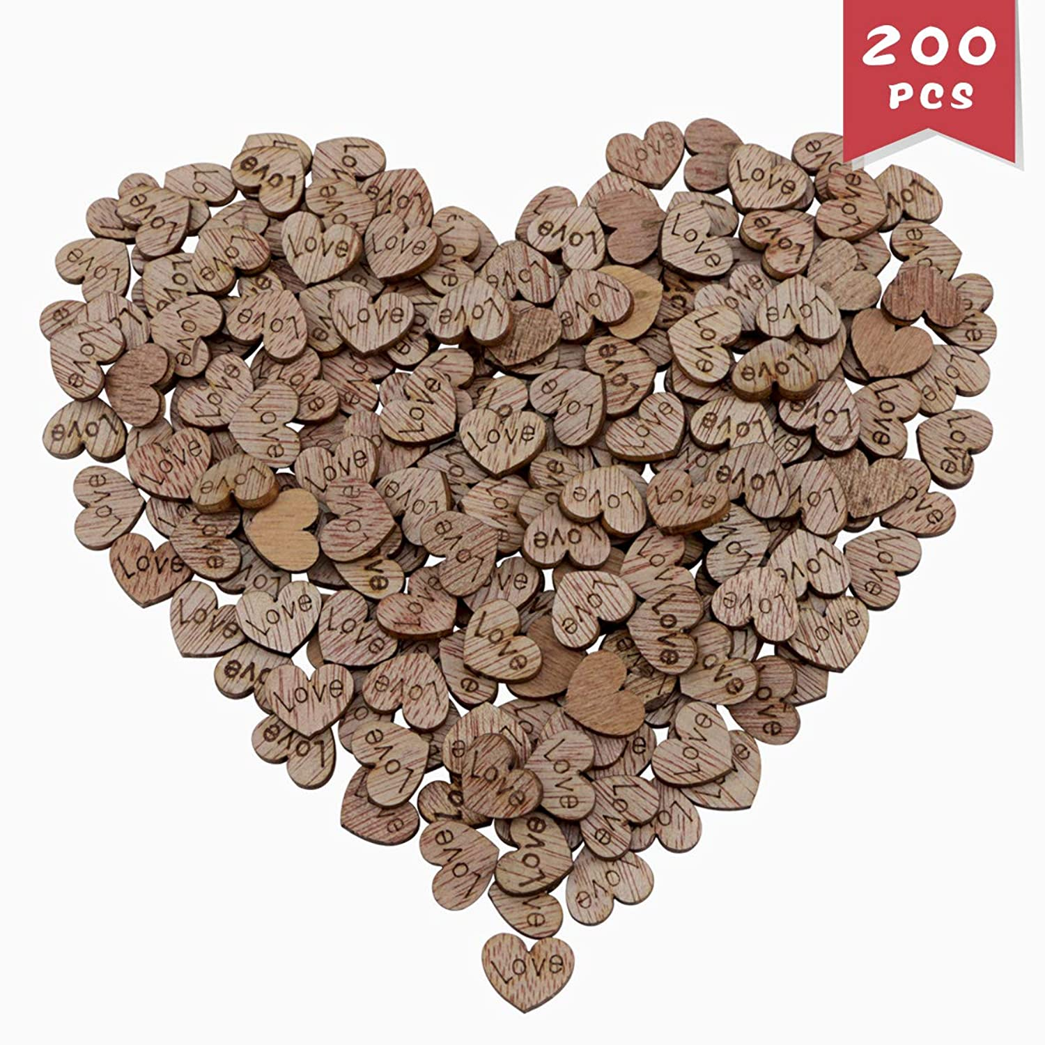 DLOnline 200PCS Wooden Love Heart Shaped Wood Slices Crafts for Wedding Table Scatter Decoration
