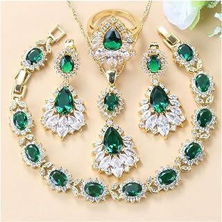 مجموعة مجوهرات كريستال الزركون ، أربع قطع مجوهرات مجوهرات الزفاف للنساء يانجين (اللون: أخضر 4 قطع، الحجم: 9)