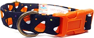 Very Vintage Design Candy Corn Dog Cat Collar Orange Black Halloween Organic Cotton Personalized Adjustable Pet Bandana