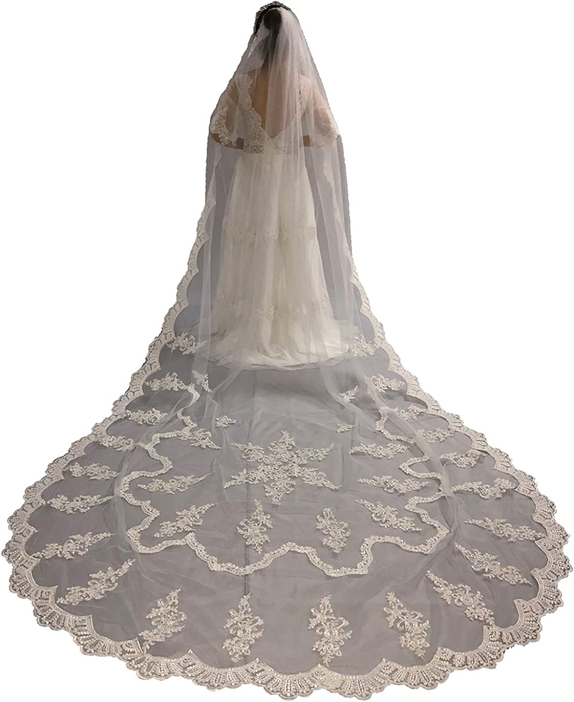 Faiokaver Wedding Veils White Ivory Cathedral 1 Tier Lace Appliques with Comb