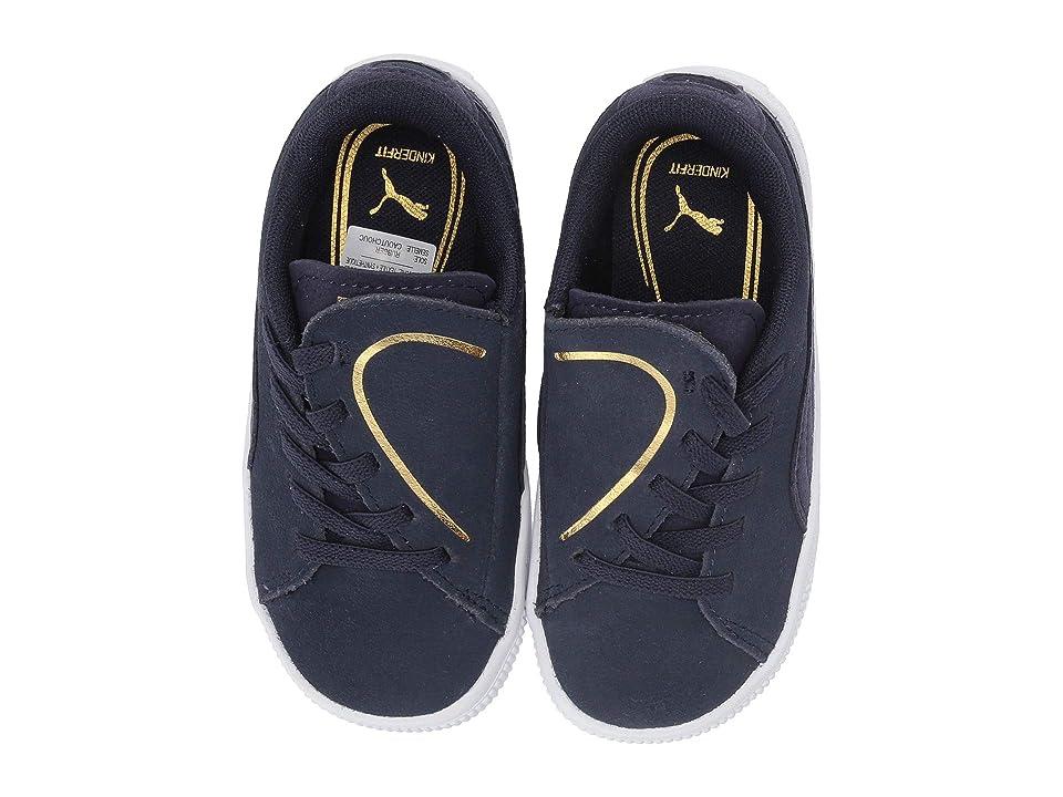 Puma Kids Suede Crush Slip-On (Toddler) (Peacoat/Puma Team Gold) Girls Shoes