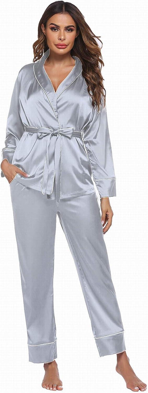 Ekouaer Satin Pajamas Set for Women Long Sleeve Sleepwear Silk Nightwear V-Neck PJS Set 2 Piece Lounge Sets PJ