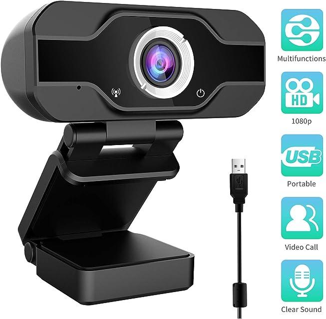 Aiglam Webcam Webcam PC 1080P Cámara Web de Alta Definiciócon micrófono Reductor de Ruido y corrección de iluminación automática Web CAM de USB Plug and Play (Negro 1)