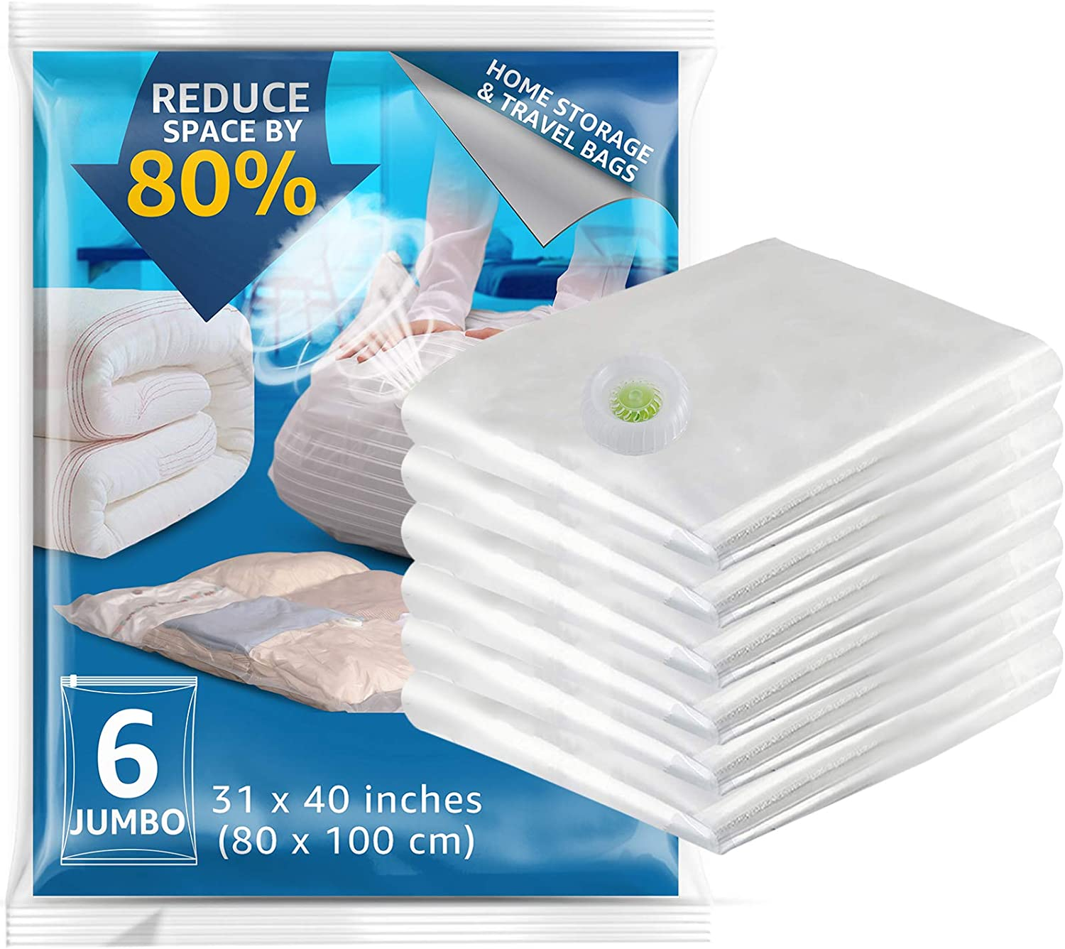 No Need to Use Hand Pump TAILI Premium Vacuum Storage Bags Blanket for Clothes New Air Valve Pillows 6 Pack Jumbo Space Saver Bags Comforters Towel 31x40 inches Reusable Travel Packing Bags