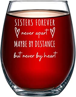 Sister Sisters Forever Stemless Wine Glass, Best Sister, Friend, BFF, In-Law, Sorority, Roommate, Sister from Sister 15oz