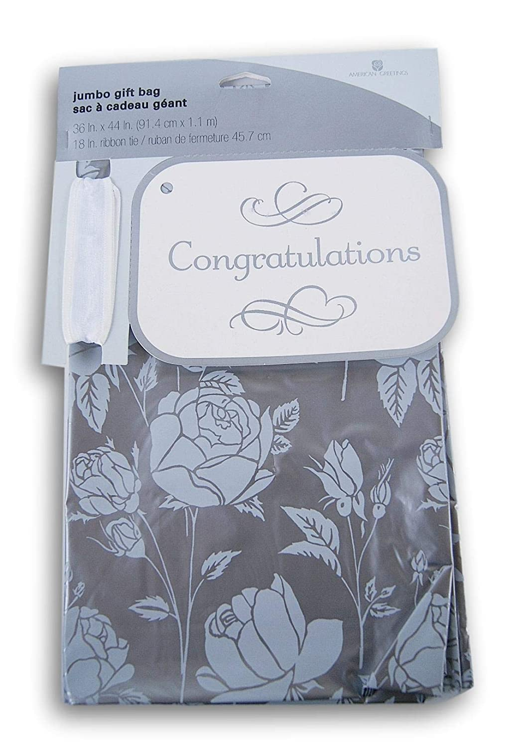 Congratulations Oversize Plastic Gift Bag with Tag and Ribbon Tie - Silver Roses- 36 x 44 Inches