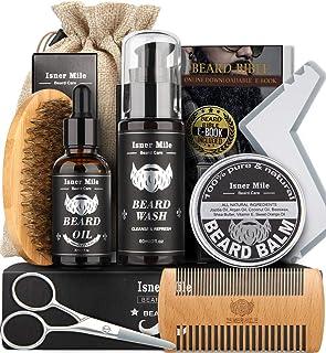 Kit Barba Cuidado Para Hombres Set Herramientas de Aseo y Recorte Con Champú Barba Aceite Crecimiento Barba Bálsamo Ce...
