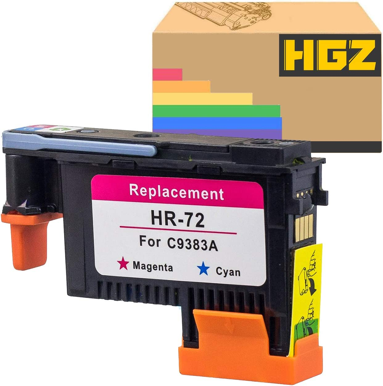 HGZ 1 Pack HP72 Magenta/Cyan Printheads with New Updated Chips Compatible for HP Designjet T610 T620 T770 T790 T1100 T1120 T1200 T1300 T2300
