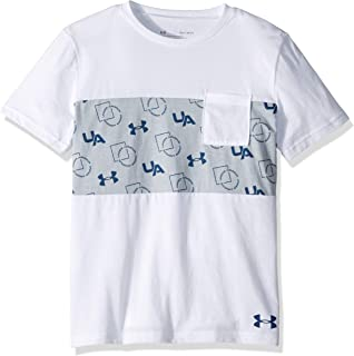 Under Armour Boys' Sportstyle Pocket Short Sleeve T-Shirt, White (100)/Petrol Blue, Youth Medium