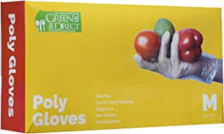 Green Direct Food Grade PE Disposable Gloves/Food Preparation Poly Gloves BPA Free Box of 500, Size Medium