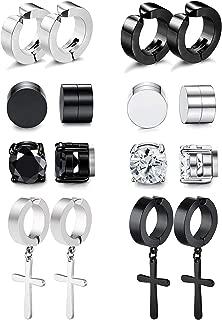 Magnetic Stud Earrings for Men Women Stainless Steel Hoop...