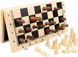 国际象棋套装 娱乐游戏 乐趣 桌游 教育 脑训练 智力开发 收纳 方便 学生 成人 磁気木製国際チェスセット 細工されたチェスピースと 子供の教育玩具 収納スロット2エクストラクイーン 方便收纳 父亲节礼物 人气 礼物 (Size : Medium)