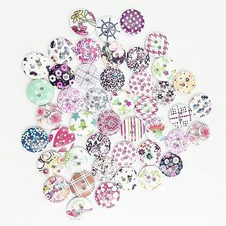 AchidistviQ - Botones de Madera para Costura, 100 Unidades, diseño de Flores pequeñas, Madera, Random Pattern