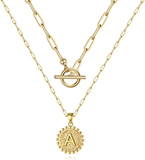 M MOOHAM Gold Layered Initial Necklaces for Women, 14k Gold Plated Paperclip Chain Necklace Coin Initial Necklace Layering...
