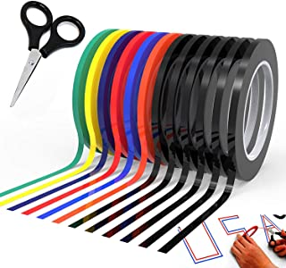 """Graphic Chart Tape Art Tape Whiteboard Tape Vinyl Tape 12 Pacs 1/8"""" Self-adhesive Artist Tape –with a Gift –Scissor (PET)"""
