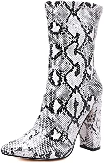 Stupmarty Women's Boots Pointed Toe Winter Ankle Bootie Snake Print Block Heels