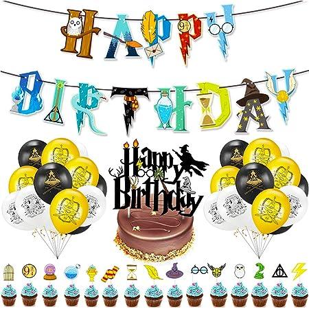 Cake Topper BETOY 37PCS Wizard Ispirato Cupcake Toppers Wizard Mago Decorazioni