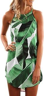 Eytino Women Sundress Casual Sleeveless Halter Neck Boho Floral Printed Summer Beach Dresses(S-XL)
