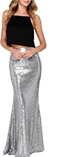 Women's Maxi Wedding Party Skirts Gold Sequin Holiday Formal Skirt