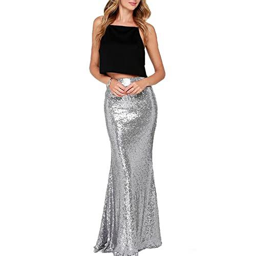 11cee9a009 Honey Qiao Women's Maxi Wedding Party Skirts Gold Sequin Holiday Formal  Skirt