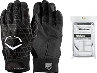 EvoShield Evocharge Batting Gloves (Youth Large/Black) with Wilson 3X Lineup Cards (30-Pack Box)