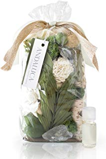 Andaluca Gardens of Bali Scented Potpourri | Made in California | Large 20 oz Bag + Fragrance Vial | Scents of Crushed Jasmine Leaves, Tangelo Peel and Lily | Fresh Green Home Fragrance