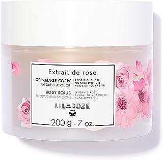 LilaRoze - Gommage Corps Extrait de Rose Bio 200ml - Gommage à Base de Sucre, Noyaux d'Olives et Huile Amande Douce - Exfo...