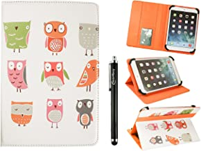 Emartbuy Universal 10-11 Inch Cartoon Owls Multi Angle Folio Wallet Case Cover with Card Slots Orange Elastic Strap and Stylus Pen Suitable for Selected Devices Listed Below