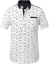 SSLR Men's Printed Button Down Casual Short Sleeve Cotton Shirts