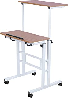 SDADI 2 Inches Carpet Wheels Mobile Standing Desk Stand Up Desk Height Adjustable Home Office Desk with Standing and Seati...