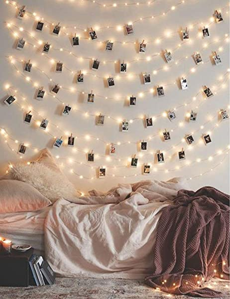 Photo Clip String Lights 33Ft 100 LED Fairy String Lights With 50 Clear Clips For Hanging Pictures Photo String Lights With Clips USB Powered With Switch Perfect Bedroom Decor Wedding Decorations