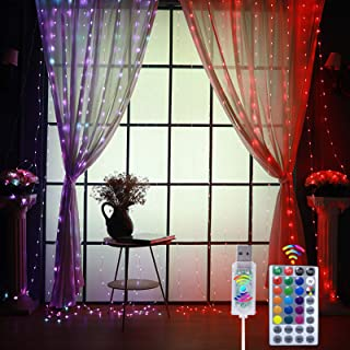 HAHOME Color Changing Curtain String Light, 300 LEDs USB Window Curtain Lights 16 Colors Fairy le Lights