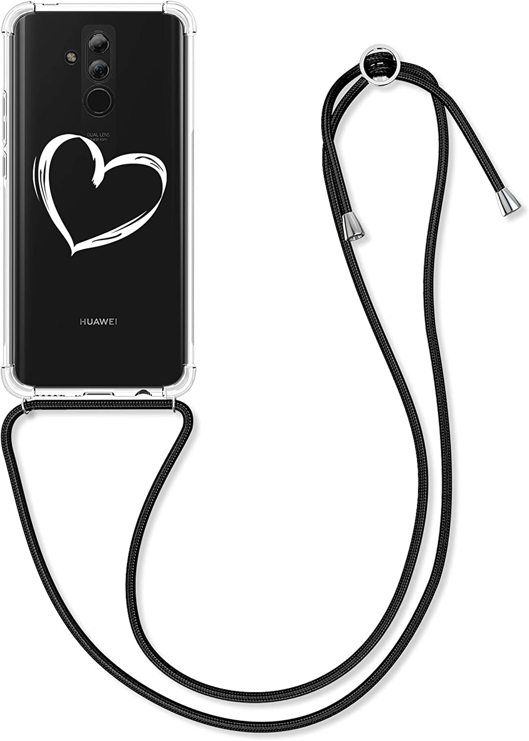 kwmobile Case Compatible with Huawei Mate 20 Lite - Crossbody Case Clear TPU Lanyard - Brushed Heart White/Transparent