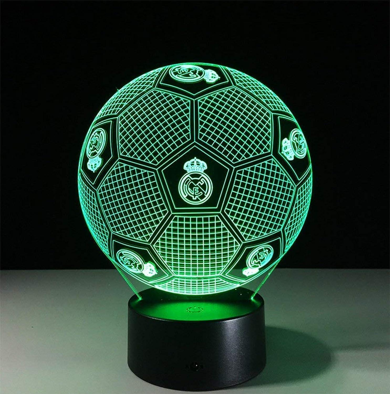 Neuheit Lampe, Real Madrid Fuball Form 3D Illusion Lampe Led Nachtlicht Stereo mit 5 Farbverlauf Schlafzimmer Schreibtischlampe für Kinder Geschenke Dekoration