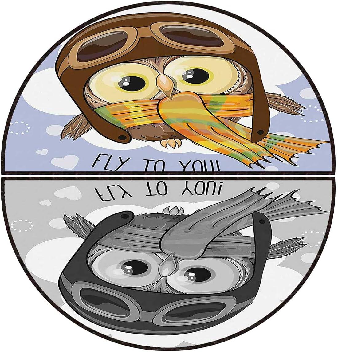 Semi-Circular Area Rug Owls Max 63% OFF Cute Entrance Cartoon Raleigh Mall Doormat Floor