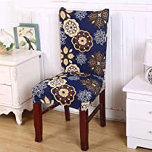 House of Quirk Elastic Chair Cover Stretch Removable Washable Short Dining Chair Cover Protector Seat Slipcover - Blue Geometry Flower