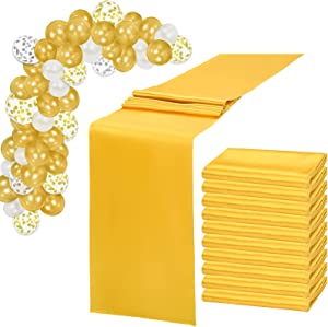 MTREO 10 Pack Satin Table Runner Gold 12 x 108 Inch Silky and Smooth Table Runner for Rectangle Round Tables with 60 Pack Balloons for Wedding Birthday Party Banquet Graduation Engagements Decoration