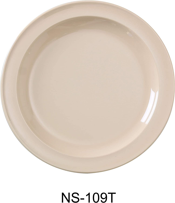 Yanco NS-109T Nessico Round Dinner Plate, 9  Diameter, Melamine, Tan color, Pack of 24