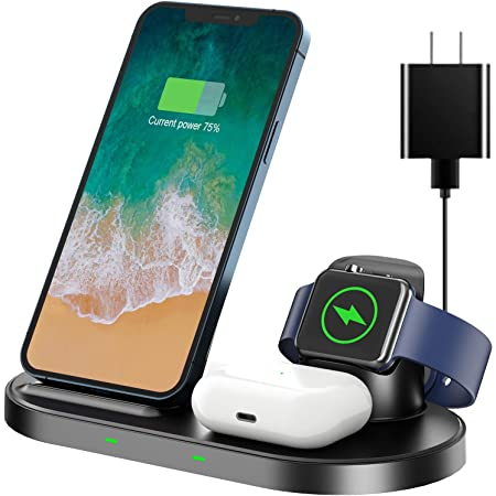 AEOEO ワイヤレス充電器【PSE認証済み】2021最新版 急速充電 3 in 1 充電スタンド ワイヤレスチャージャー 置くだけ充電 iWatch充電 TYPE-C ケープル 急速充電15W/10W/7.5W/5W 充電スタンド For iPhone 12 / 12 Pro / 12 Pro Max / 11 / 11 Pro / Pro Max / Galaxy S20 /S10 / S10+ / S9 / Note 10/Apple AirPods 2 / AirPods Pro/ iWatch5(OS6) 対応 急速充電 TYPE-C ケープル アダプター付属(贈答)